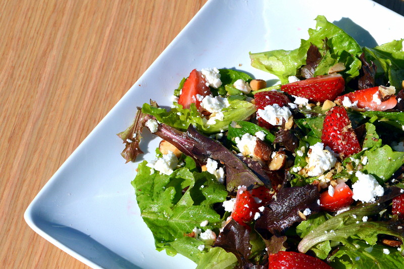 Mixed Greens with feta, strawberries, & almonds | That Square Plate