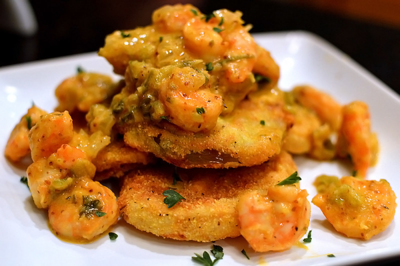 Fried Green Tomatoes with Warm Shrimp Remoulade from thatsquareplate.com