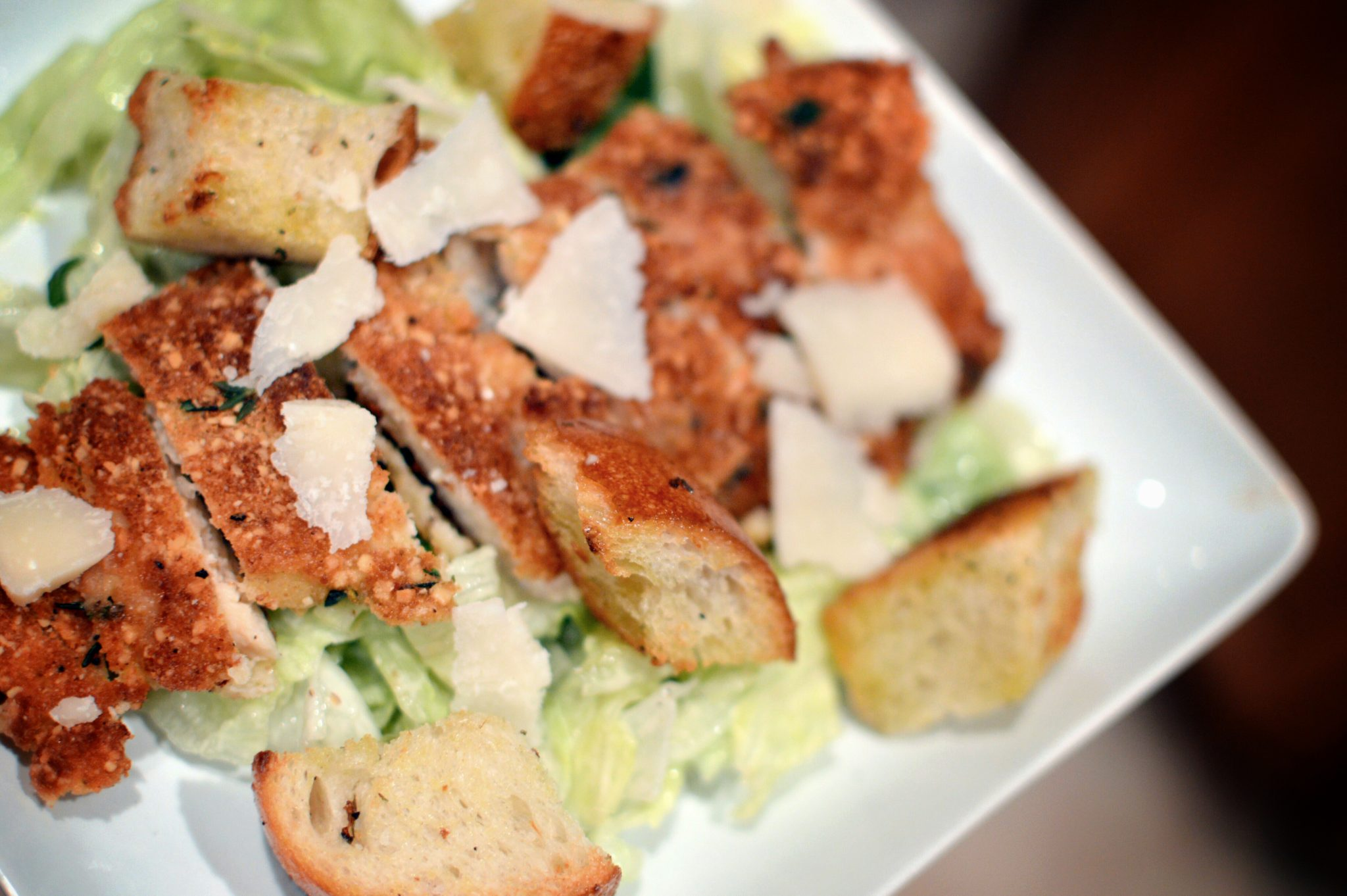 Pan Fried Chicken Caesar Salad