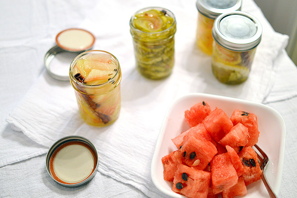 Pickled Watermelon Rind ~ A surprisingly sweet, delicious pickled treat! From www.thatsquareplate.com