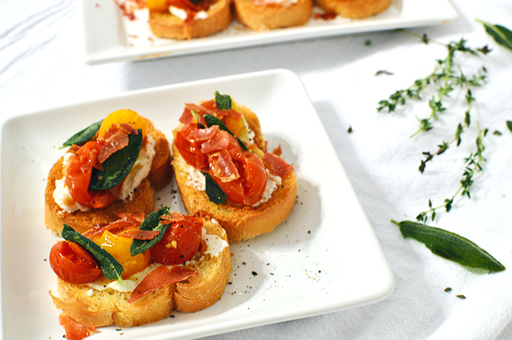 Ricotta and Roasted Tomato Bruscetta w/ Prosciutto and Sage