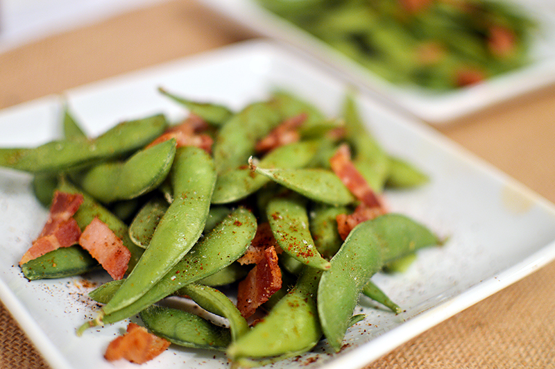 Edamame with Bacon & Chili P | That Square Plate