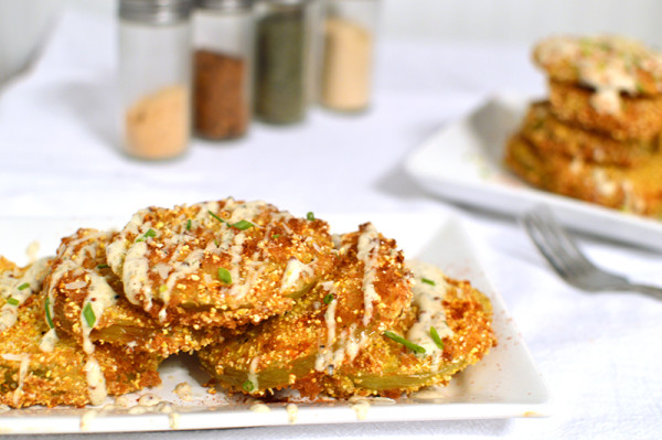 Fried Green Tomatoes with a Cajun-Dill Buttermilk Sauce | That Square Plate