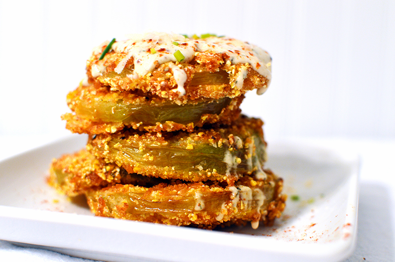 Fried Green Tomatoes with a Cajun Dill Sauce | That Square Plate