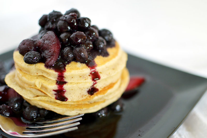 Pancakes with a Blueberry Peach Sauce | That Square Plate