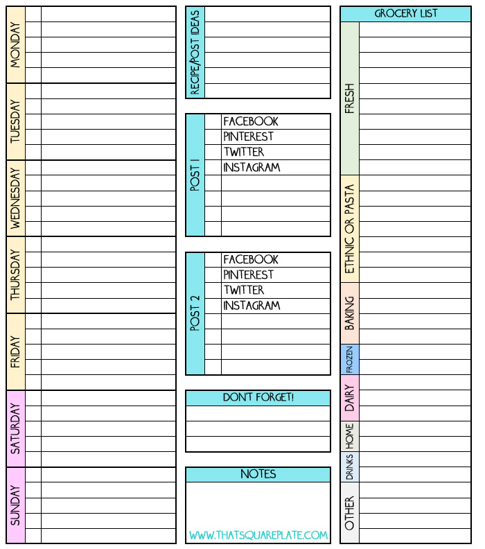To Do Grocery Post-Planner Printable from thatsquareplate.com