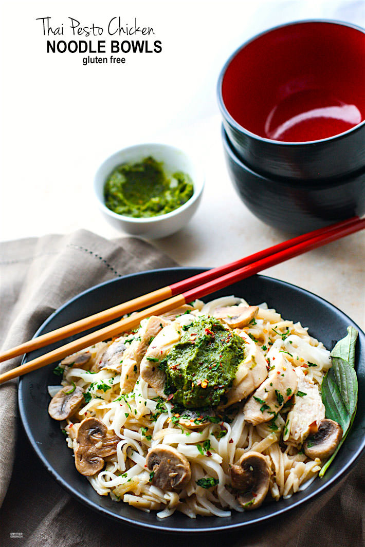 Spicy Thai Pesto Chicken Gluten-Free Noodle Bowls from Cotter Crunch