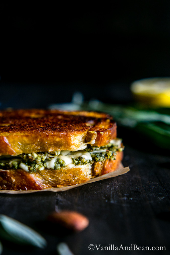 Almond-Sage Pesto Grilled Cheese Sandwich with Gruyere