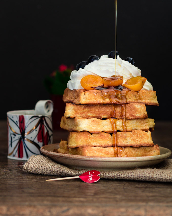 Almond Waffles & Maple Roasted Apricots