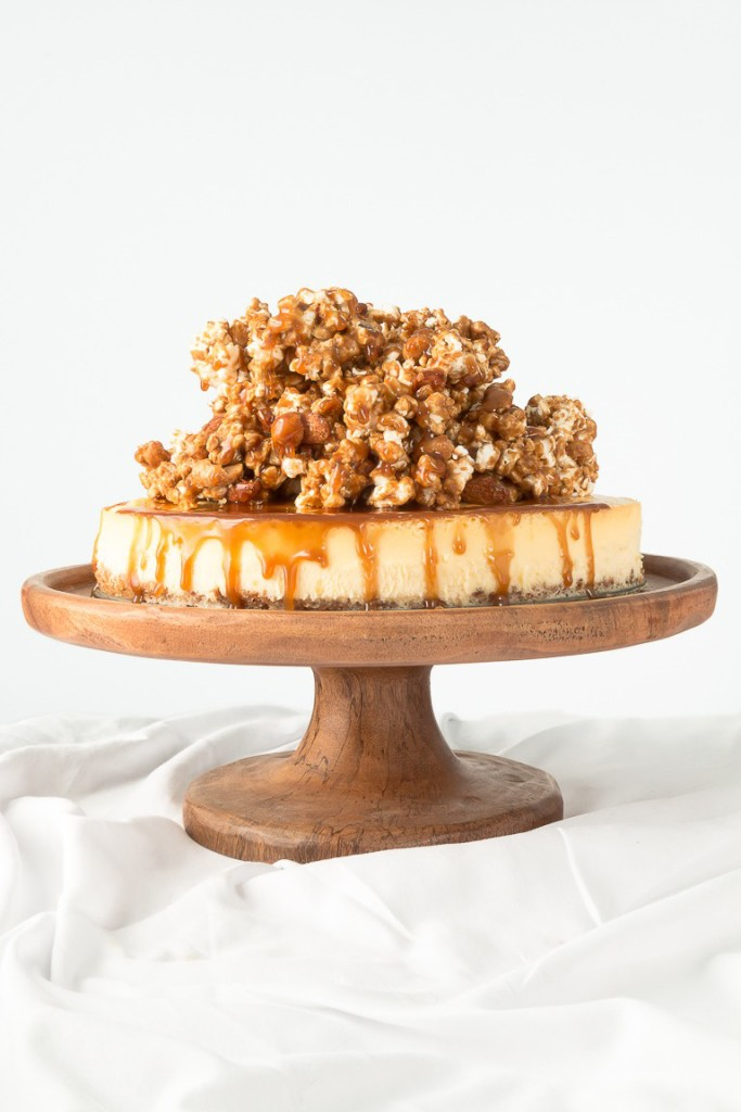 Cheesecake with Nut Crust & Nutty Caramel Popcorn