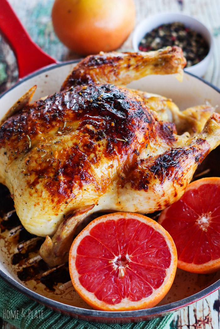 Ruby Red Grapefruit Honey Glazed Skillet Chicken from Home and Plate