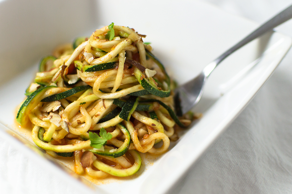 Loved how these Moroccan-inspired zoodles turned out. I really wanted to use some harissa I had just bought, so I combined it with tons of other Moroccan flavors and made a sauce that was DY-NA-MITE!