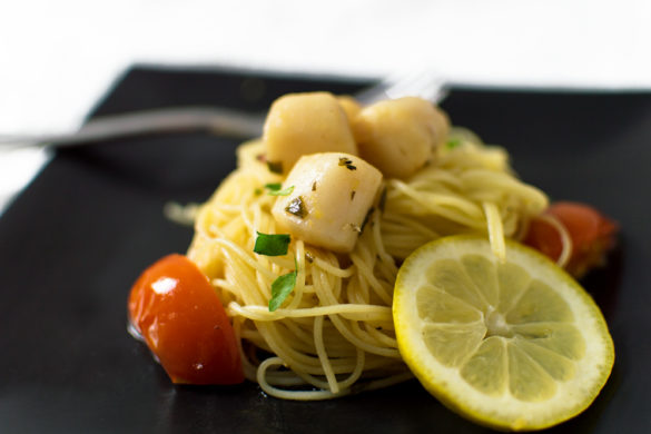 I was going for a scampi flavored seafood pasta, but I used fresh gulf scallops and added tomatoes, and this beautiful, tasty creation was created!