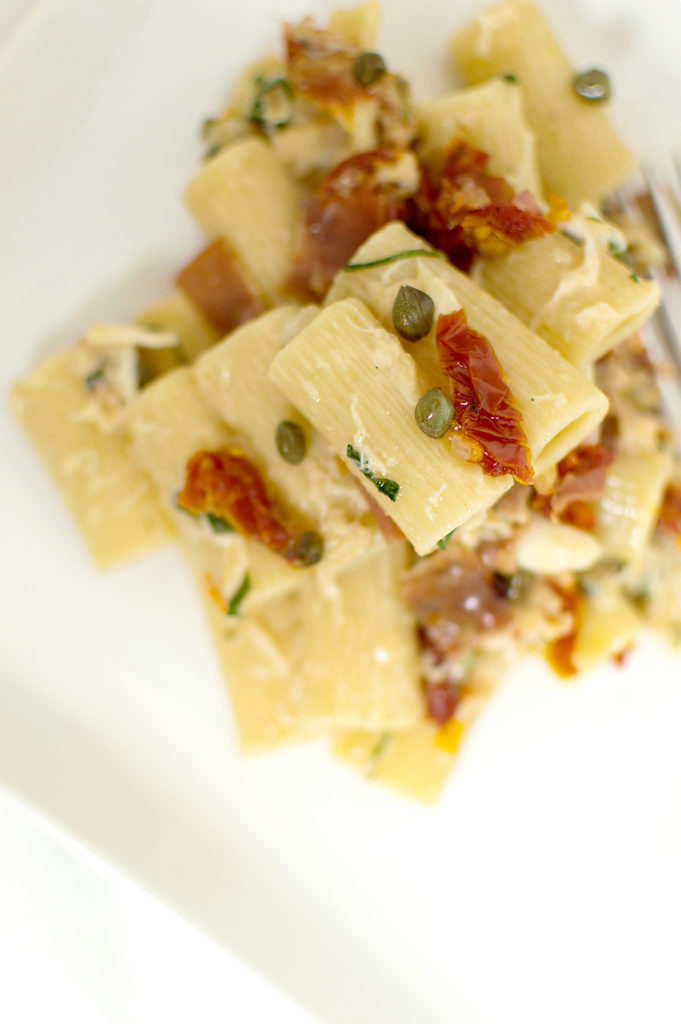 Prosciutto and Crab Pasta with a Parmesan White Wine Sauce