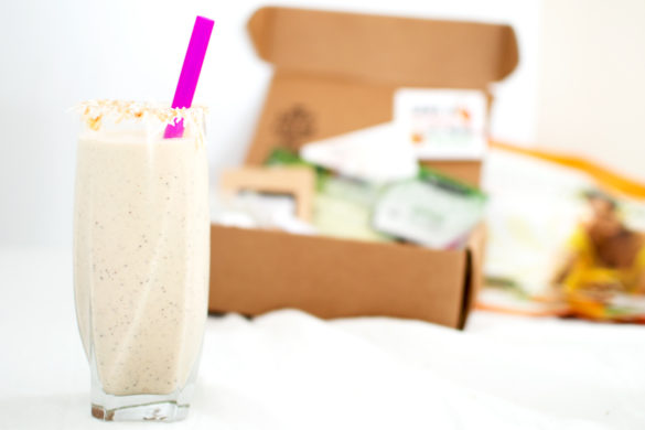 A super-simple protein smoothie with banana, pineapple, cantaloupe and papaya powder. Sweeten with honey, agave, or coconut sugar.